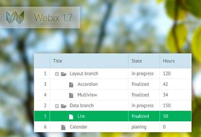 webix 1.7 xbs