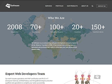 Website design and dev example: XB Software site