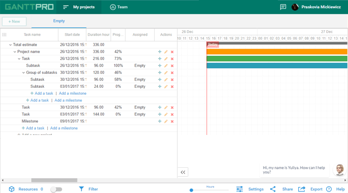 testing of project planning app