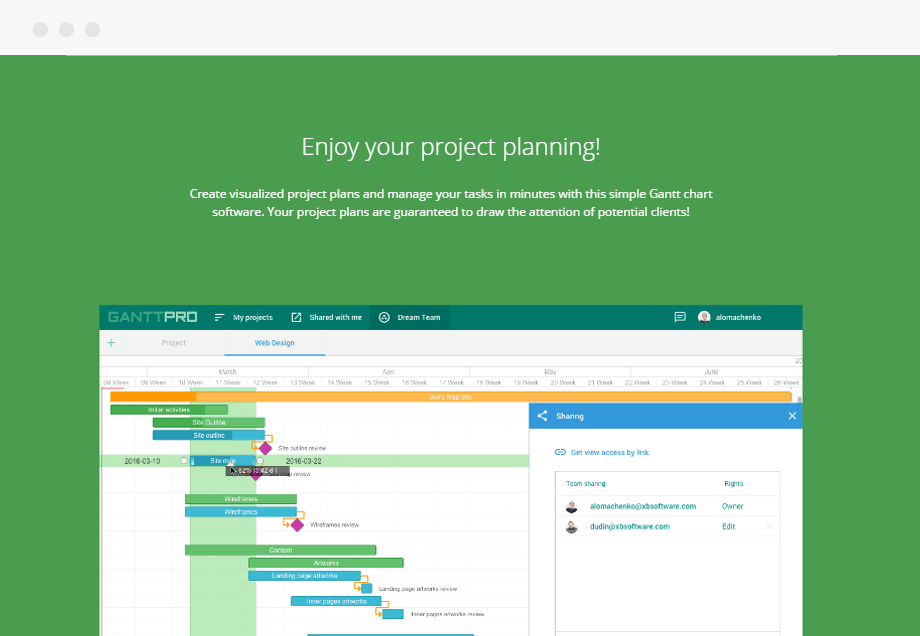 project planning tool tests