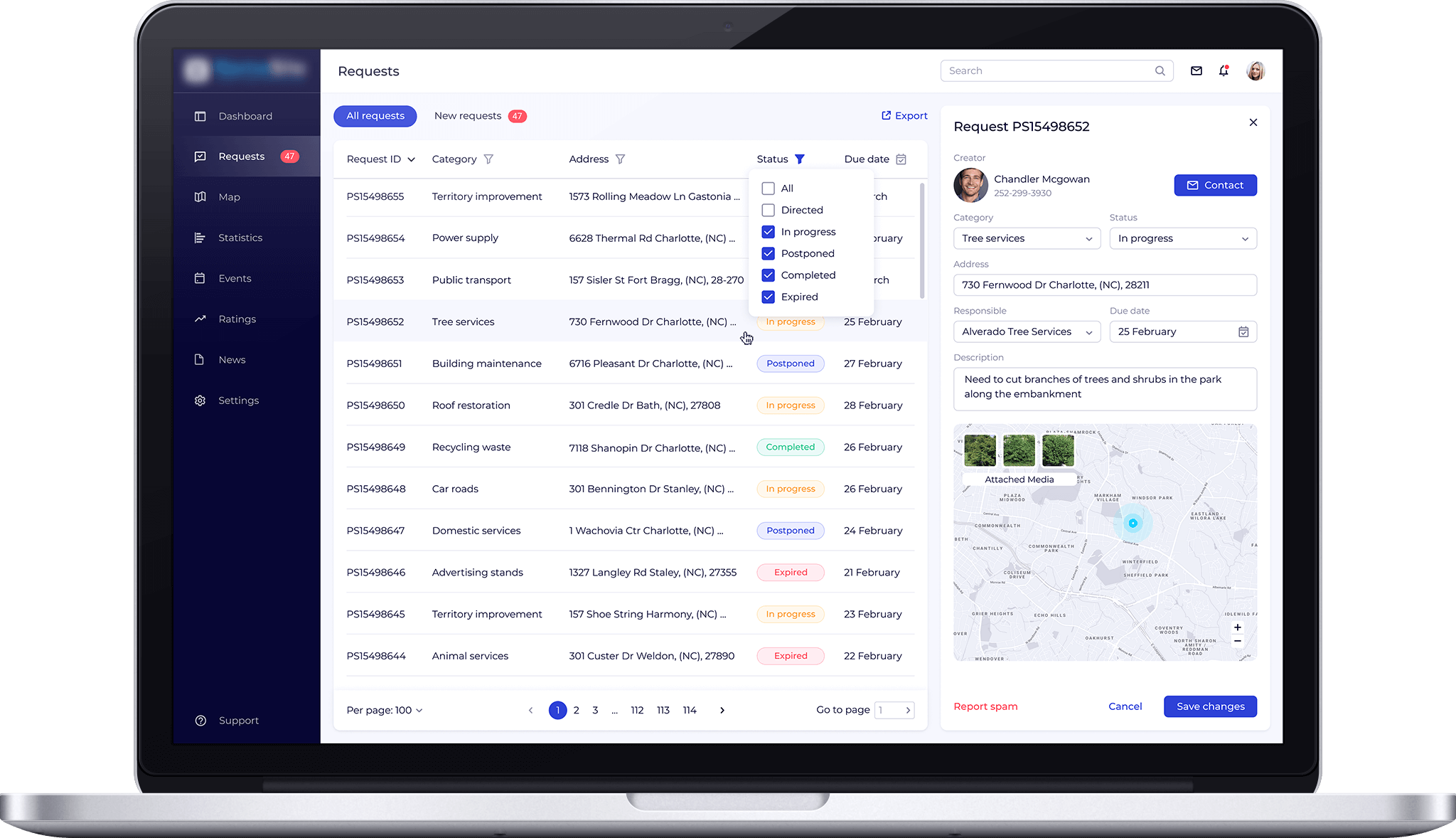 application for city services dashboard